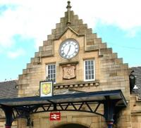 Detail showing part of the entrance to the James Miller main station building at Stirling, photographed in June 2008. The category A listed structure dates from 1915.<br><br>[John Furnevel&nbsp;12/06/2008]