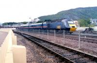 A May evening in 2002 sees the GNER 1200 ex-Kings Cross <I>Highland Chieftain</I> HST pulling away from the Aviemore stop on the last leg of its 581 mile journey to Inverness.<br><br>[John Furnevel&nbsp;13/05/2002]