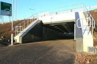 New station entrance. The pedestrian underpass that now provides a direct connection below the A8 between the Gyle retail park and Edinburgh Gateway Interchange, see here looking north from the Gyle Centre car park on 26 January 2017. <br><br>[John Furnevel&nbsp;26/01/2017]