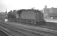 Bolton based 'Crab' 2-6-0 42708 waits to leave the platform at Doncaster on 31 May 1963, having just come off a terminated parcels train<br><br>[K A Gray&nbsp;31/05/1963]