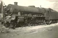 Jubilee 4-6-0 45575 <I>Madras</I> receiving attention on Corkerhill shed in September 1949.<br><br>[G H Robin collection by courtesy of the Mitchell Library, Glasgow&nbsp;17/09/1949]