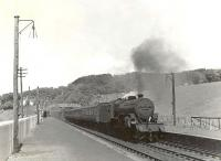 Ardrossan based <I>Crab</I> 42806 arrives at Fairlie High on 24 May 1960 with a Largs - St Enoch train.  <br><br>[G H Robin collection by courtesy of the Mitchell Library, Glasgow&nbsp;24/05/1960]