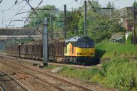 Colas 60026 approaches Leyland on the Up Fast with the Carlisle to Chirk log train on 03 June 2016. This regular service has been rather less frequent in the last few months, reported as being due to work being carried out at the Chirk factory.<br><br>[John McIntyre&nbsp;03/06/2016]