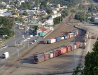 Picton freight yard, New Zealand south island on a sunny day on 15 March 2008. The Coastal Pacific is currently undergoing repairs after the earthquake in Kaikoura but is due to reopen later this year (September 2017).<br><br>[Brian Smith&nbsp;15/03/2008]