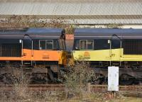 66846 and 66850 'dead' in the nearby sidings. Colas Rail.<br><br>[Peter Todd&nbsp;11/01/2017]