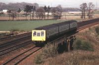 The last train to use the Down (formerly Up) Slow between Swinlees and Dalry was the 1350 Glasgow Central to Ardrossan Harbour on Saturday 27/10/84. It is seen here nearing the station.<br><br>[Donald Hillier&nbsp;27/10/1984]
