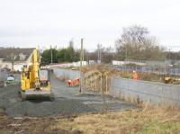 Work has started on the contractor's compound for the construction of the St. Ninian's (Millhall Road) pedestrian bridge which will replace a particularly dangerous foot crossing. According to Network Rail 'Millhall Road is already Scotland's highest risk pedestrian level crossing – with one fatal accident and six near misses since 2010 – and faster, quieter electric trains will further increase the safety risk at the crossing'.<br><br>[Colin McDonald&nbsp;30/01/2017]
