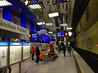 The island platforms at the 'U' Bahn station in Munchen.<br><br>[Veronica Clibbery&nbsp;/08/2016]