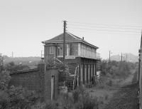 Polmaise signal box viewed from a northbound railtour.<br><br>[Bill Roberton&nbsp;//1992]