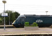 HST 125 43005 at Didcot on 27 July 2016 in the new GWR Colours... unfortunately the rest of the train wasn't!<br><br>[Peter Todd 27/07/2016]
