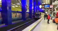 Two trains at the island platform of the Munchen 'U' Bahn station.<br><br>[Veronica Clibbery&nbsp;/08/2016]