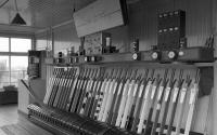 The interior of Lugton signalbox in 1992. Quite a few white levers there.<br><br>[Bill Roberton&nbsp;//1992]
