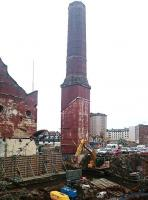 Part of the former Edinburgh Corporation Shrubhill tram depot on 20 January 2017, showing the unique octagonal brick chimney which once served the site's power station. The chimney is to be retained as an integral part of the redeveloped site.<br><br>[Andy Furnevel&nbsp;20/01/2017]