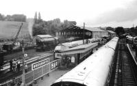 A view from the footbridge at Bridgnorth over the station and shed area in May 1979.<br><br>[John McIntyre&nbsp;/05/1979]