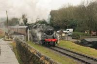 Newly restored BR Standard 4MT 76084 is wintering on the ELR and taking its turn on services in between main line runs. The 2-6-0 is seen leaving Irwell Vale for Rawtenstall with the first train of the day on 11th February 2017.  <br><br>[Mark Bartlett&nbsp;11/02/2017]