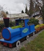 Aberdour in Bloom. A different design of barrel train at Aberdour. (Looks a bit Caley blue though? -Ed).<br><br>[John Yellowlees&nbsp;09/02/2017]