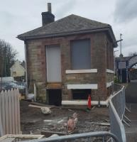 Aberdour's former signal box with conversion under way to a pottery studio for Kinghorn artist Lynette Gray.<br><br>[John Yellowlees 09/02/2017]