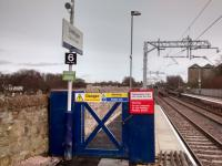 The eastbound platform at Linlithgow has EGIP-ready extensions at both ends. The one at the east end (here) is particularly modest, though, I'm sure quite necessary. There is a far more substantial one on the westbound side, making the platforms of equal length.<br><br>[David Panton&nbsp;24/02/2017]