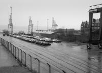 View over Clydeport container yard, on the site of Princes Pier station, in 1992.<br><br>[Bill Roberton&nbsp;//1992]