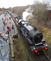 The 'Buxton Spa Express' stops at Denton on 25 February 2017 to take water, or at least the loco, 45690 <I>Leander</I> does. Denton has only one passenger train a week, the 0922 Stockport to Stalybridge on a Friday and nothing in the opposite direction!<br><br>[John McIntyre&nbsp;25/02/2017]
