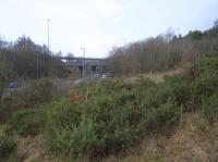 View north west along the former trackbed towards the site of Maryville station. No trace of the station remains, it having been obliterated during the construction of the M73/M74 Maryville junction works. <br><br>[Colin McDonald&nbsp;15/02/2017]