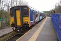 A Northern service with a Class 153 and 150 from Clitheroe to Manchester Victoria departs from Entwistle on 24 February 2017 to the next stop at Bromley Cross.<br><br>[John McIntyre&nbsp;24/02/2017]