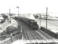 Kingmoor Black 5 45081 approaching Cumnock from the south in the summer of 1961 at the head of a Glasgow bound express. [Ref query 901] <br><br>[G H Robin collection by courtesy of the Mitchell Library, Glasgow&nbsp;29/07/1961]