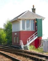 The smart looking signal box just north of the station at Barrhead, seen shortly after receiving a 'wash and brush up' in the summer of 2006.<br><br>[John Furnevel&nbsp;/08/2006]