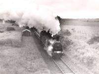 Ex-Caledonian 0-6-0 57441 passing Pitcrocknie Siding on the approach to Alyth on 16 June 1960. The train is the 1960 SLS/RCTS Joint Scottish Railtour. [Ref query 931]<br><br>[WA Camwell (Copyright Stephenson Locomotive Society)&nbsp;16/06/1960]