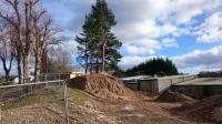 This is part of the Deeside line in Banchory,  to the right is Banchory golf club. A new house is being built beside Bridge Street.<br><br>[Alan Cormack&nbsp;10/03/2017]