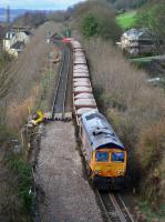 GBRf 66736 draws a ballast train past the lifted Up line on the approach to Inverkeithing Tunnel.<br><br>[Bill Roberton&nbsp;12/03/2017]
