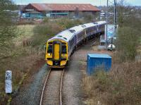 158729/714 take the Inverkeithing North/East chord with the 08.28 Perth - Dalgety Bay service, an alteration because of track renewals in Inverkeithing Tunnel.<br><br>[Bill Roberton&nbsp;12/03/2017]