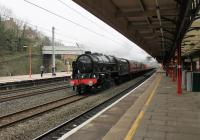 46115 <I>Scots Guardsman</I> takes the Down Fast through Lancaster on 11th March 2017 with a special from Manchester to Edinburgh. The Scot was standing in for the booked Duchess 46233. <br><br>[Mark Bartlett&nbsp;11/03/2017]