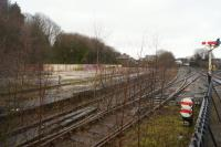 The foundations of the demolished shed at Buxton seen from the station in February 2017.<br><br>[John McIntyre&nbsp;27/02/2017]