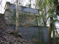 View of the remaining north west abutment, now concealed in the trees behind the new housing at the former Glasgow Zoo site.<br><br>[Colin McDonald&nbsp;09/03/2017]
