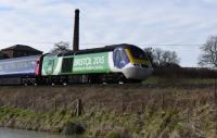 HST 43126, passing Crofton, in the 'Bristol Green City' colours. West bound trailing power car.<br><br>[Peter Todd&nbsp;07/03/2017]