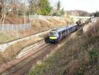 A Sunday morning service on the Borders Railway runs south through the site of the original Eskbank station on 12 March 2017. In another half mile the train will stop at its 2015 replacement. <br><br>[John Furnevel&nbsp;12/03/2017]