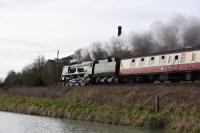 A quick trip to Crofton on the GWR Berks and Hants line on 7 March to see 34052 <I>Lord Dowding</I> (aka 34046 <I>Braunton</I>) pass by westbound towards Bristol with a 'Cathedrals Express'.<br><br>[Peter Todd&nbsp;07/03/2017]