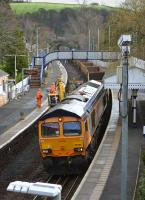 GBRf 66704 draws a train of empties into Aberdour where the down line has been lifted.<br><br>[Bill Roberton 19/03/2017]