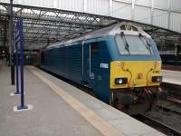 67 003 in what could almost be Rail Blue. It's occupying the far end of what will be Platform 6 by summer 2018. Waverley currently has a generous 4 stabling points: here, the neighbouring Platform 5 stub, opposite No 7 and between Nos 16 and 17.<br><br>[David Panton&nbsp;11/03/2017]