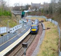 A quiet Sunday morning at Gorebridge on 12 March 2017 as a train for Tweedbank enters the station. <br><br>[John Furnevel&nbsp;12/03/2017]