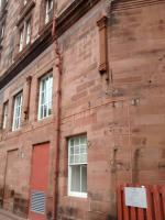 Some of the evidence that the back of the Caledonian Hotel was once more than a car park. The corbels would have supported the roof arches and other marks indicate that there were structures attached to the wall.<br><br>[David Panton&nbsp;17/03/2017]
