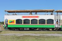 A double decked St Kitts Scenic Railway coach. The five in use are substantial vehicles, built in the USA around 2002. The lower saloon is air conditioned with loose wicker seating and tables - very colonial. The popular upper decks have longitudinal benches and are completely open apart from the canopy cover - ideal for en route photography.  <br><br>[Mark Bartlett&nbsp;18/02/2017]