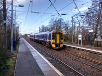 A mid-morning service for Edinburgh calls at Wester Hailes on 20/03/2017. The station opened in 1987, the same year as neighbouring Curriehill reopened.  Despite getting the same trains however Wester Hailes clocks up far fewer passengers. This is probably for socioeconomic reasons; this is not really commuter country. However footfall will surely improve with an increased service come electrification of the whole line.<br><br>[David Panton&nbsp;20/03/2017]