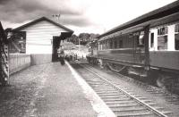 The SLS/RCTS Joint Scottish Tour pauses at Turriff on 13 June 1960, seen here looking north through the station.<br><br>[RB Parr, courtesy Stephenson Locomotive Society&nbsp;13/06/1960]