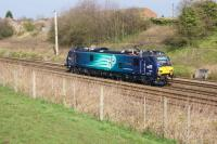 Out on the mainline using electric traction, a new DRS Class 88 is seen approaching Farington Curve Jct whilst working light engine from Crewe to Carlisle. This was the return working on 27 March 2017 with 88002 'Prometheus' having the honour of making the run.<br><br>[John McIntyre&nbsp;27/03/2017]