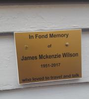 Stranraer plaque - unveiled today in memory of the SAYLSA company secretary James McKenzie Wilson who died last month.<br><br>[John Yellowlees&nbsp;27/03/2017]