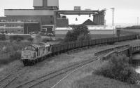 37696 leaves Methil Power Station with empties.  The line to the right led to the docks.<br><br>[Bill Roberton&nbsp;//1992]