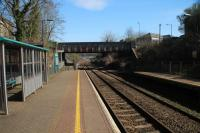 A view of Skewen from platform level looking towards Neath. The site of the original station closed in 1964 was on the other side of the bridge.<br><br>[Alastair McLellan&nbsp;24/03/2017]
