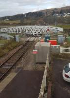 Swingtime at Banavie. A view of the Banavie Swing Bridge and Mallaig end of the station from the modern signal box. The bridge over the Caledonian Canal is swung open to allow vessels to pass.<br><br>[John Yellowlees&nbsp;02/04/2017]